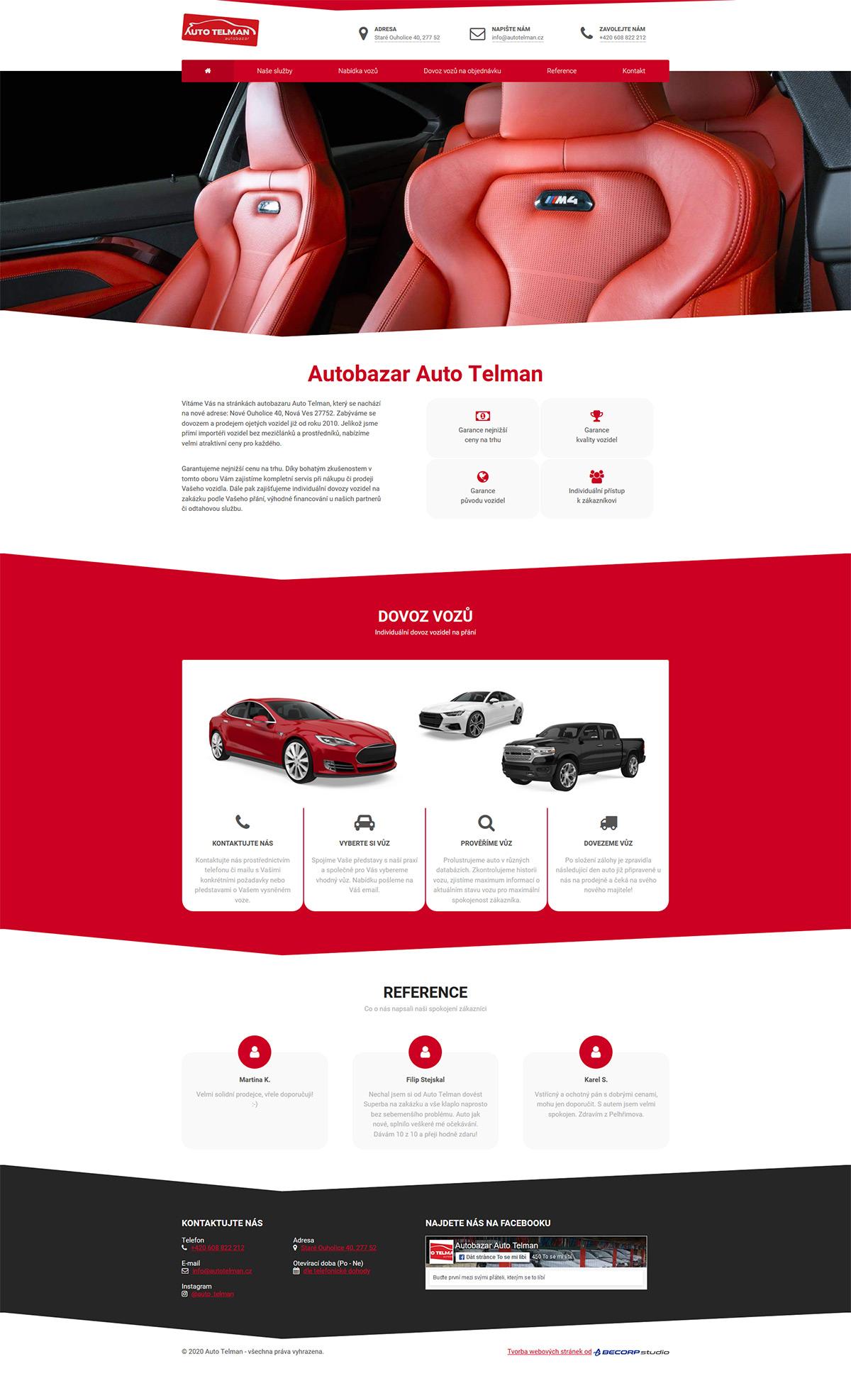 Redesign www stránky autobazaru