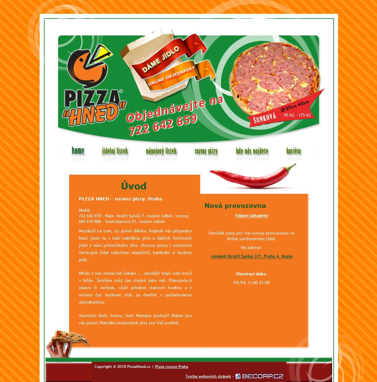 Originální webová stránka pizzerie