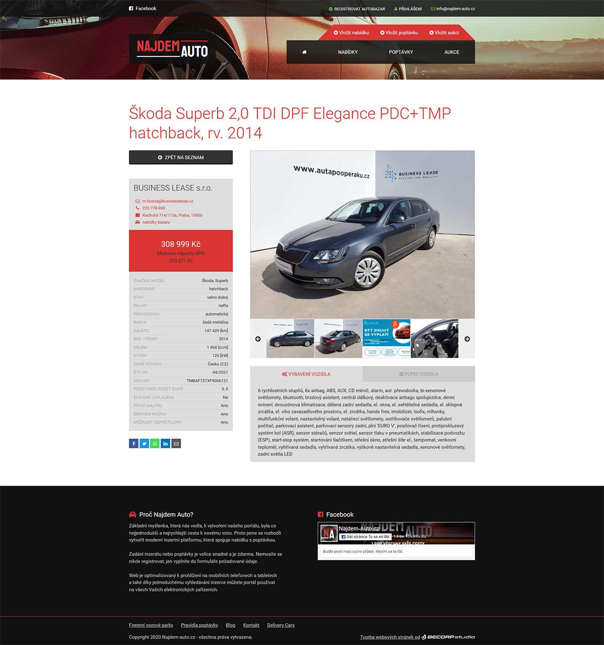 Výroba responzivního portálu s auto-moto inzeráty a poptávkou