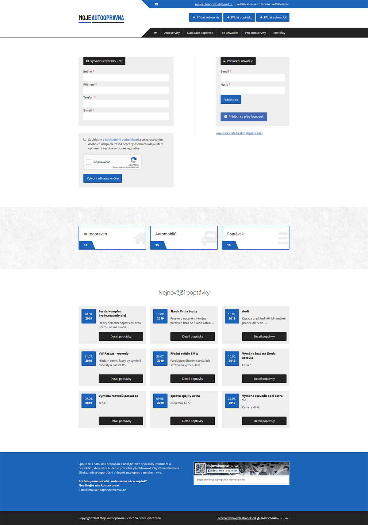 Webový portál s databází autoservisů a poptávkami auto-moto oprav