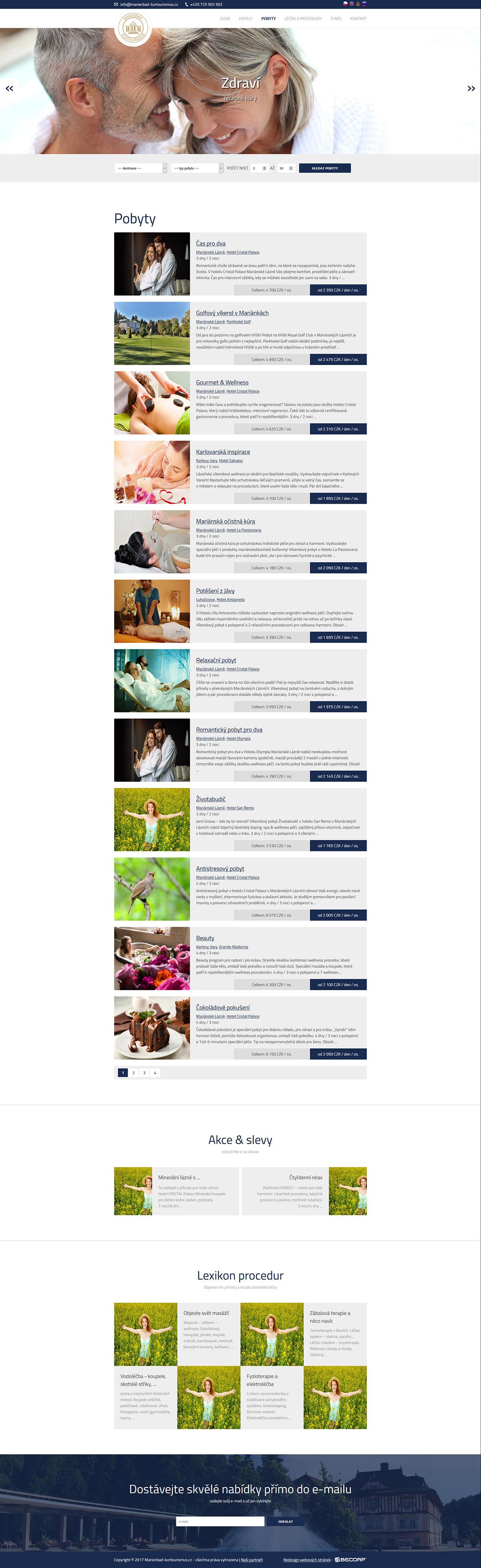 Moderní responzivní web nabízející lázeňské služby a pobyty