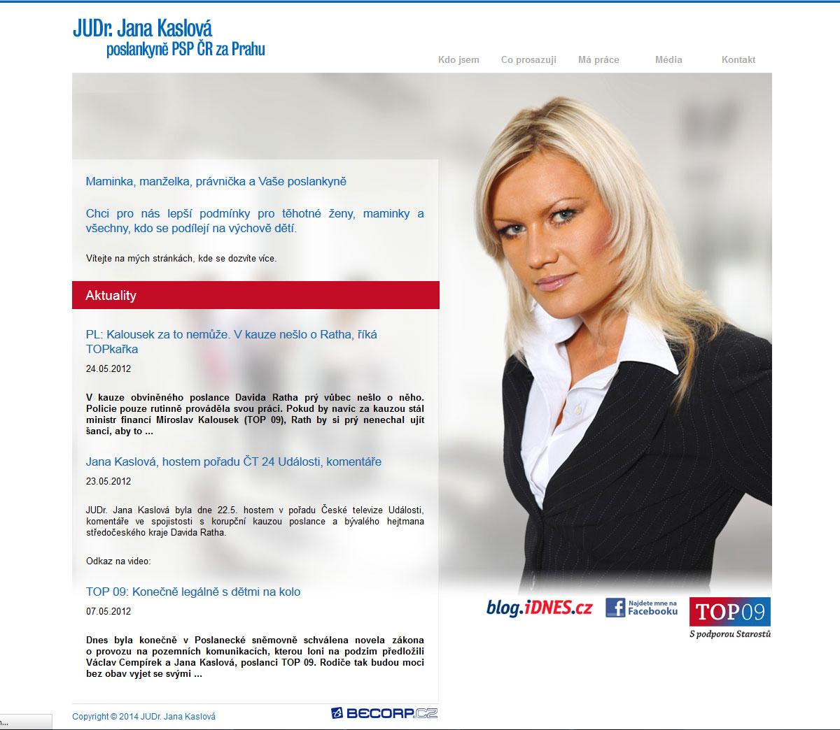 Reprezentativní web poslankyně ČR