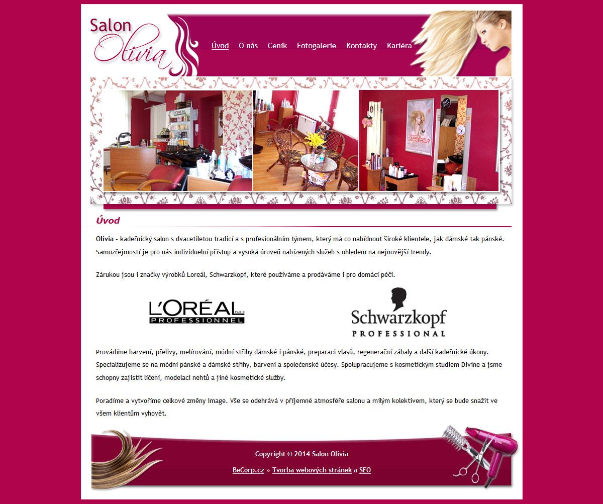Moderní stránka kadeřnického salónu