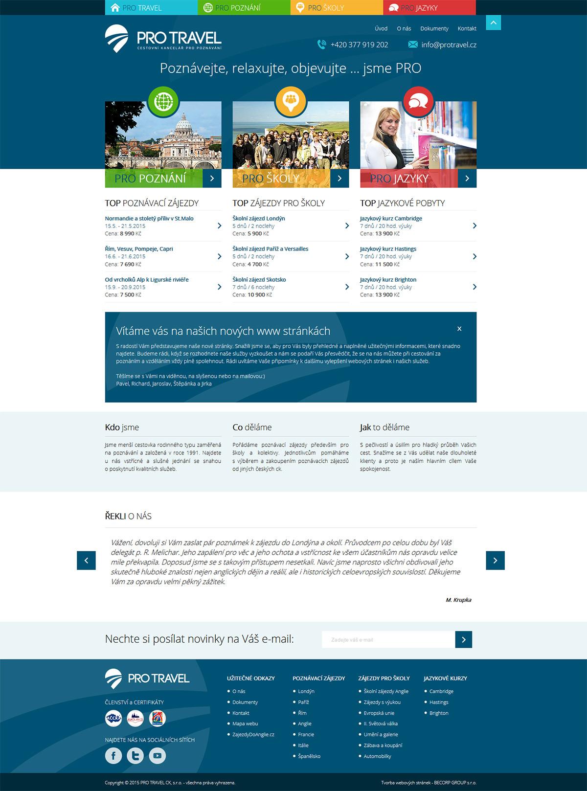 Moderní responzivní plný funkcí pro plzeňskou cestovní kancelář