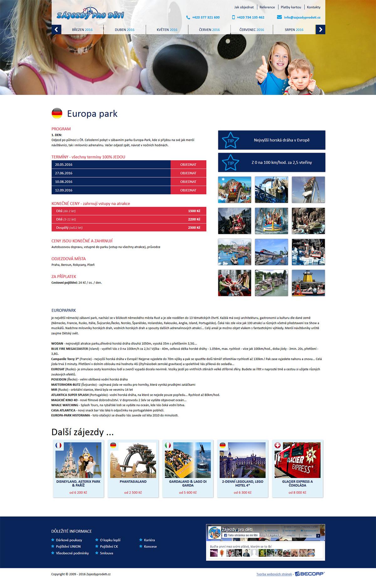 Webová stránka cestovní kanceláře s dětskými zájezdy