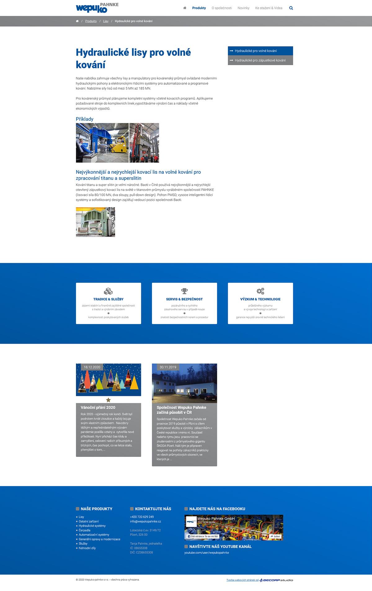 Tvorba firemního webu pro nadnárodní strojírenskou společnost