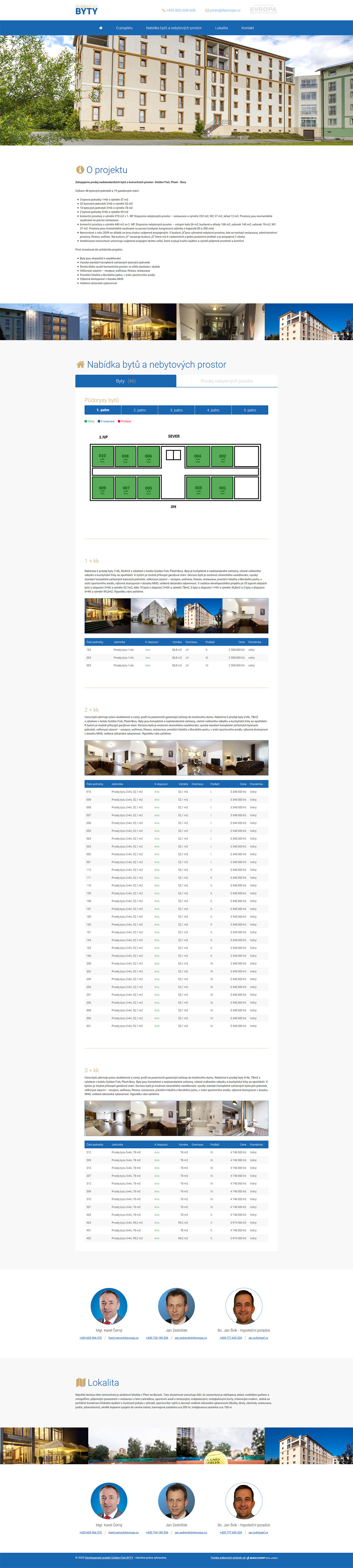 Moderní web developerského projektu - prodej bytů