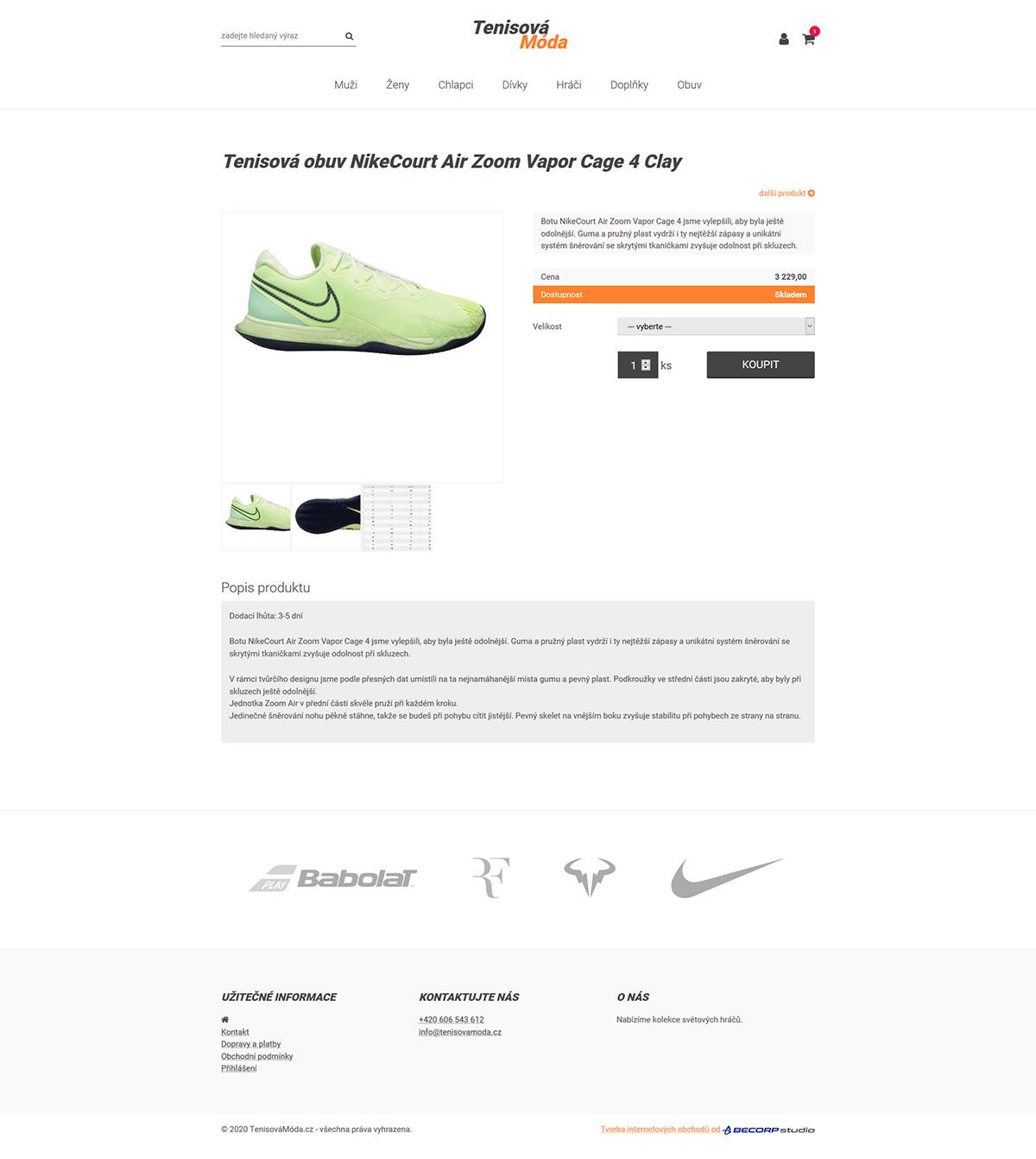 Jednoduchý internetový obchod s tenisovou módou
