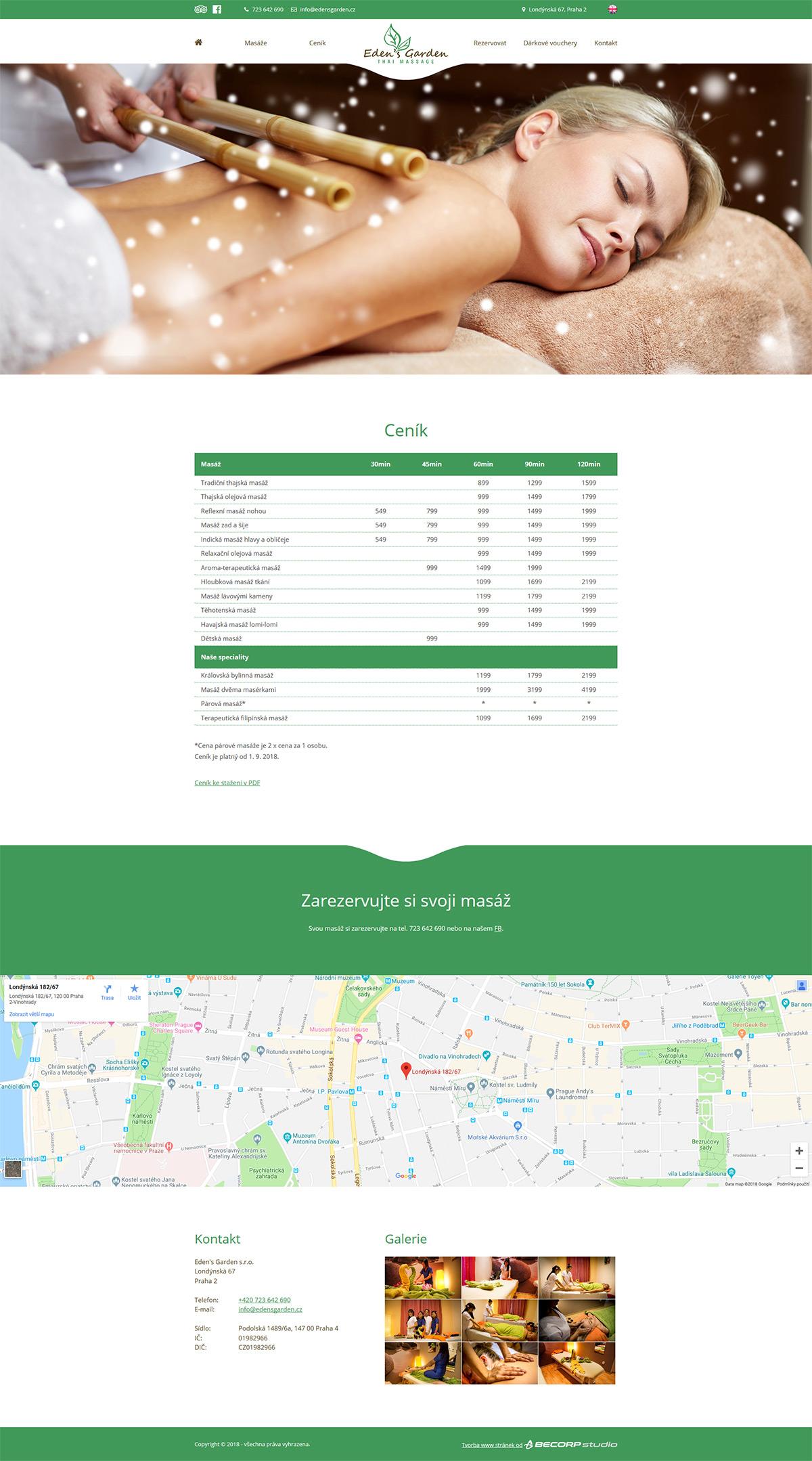 Designové www stránky pro masážní salón