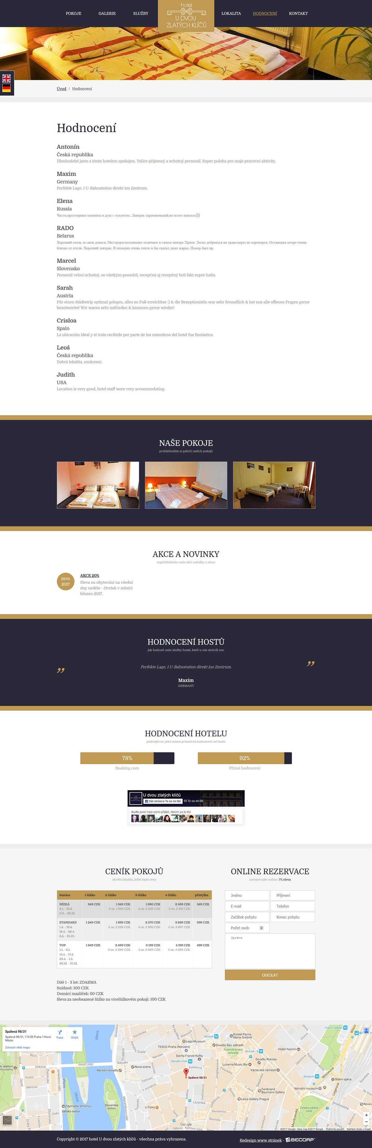 Tvorba www stránky pro pražský hotel v centru metropole