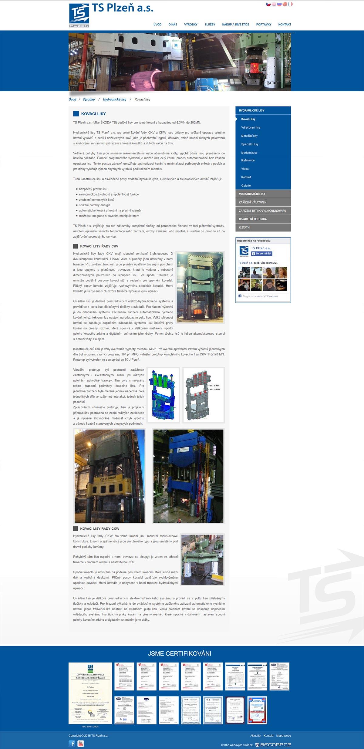 Redesign webové stránky známé strojírenské společnosti
