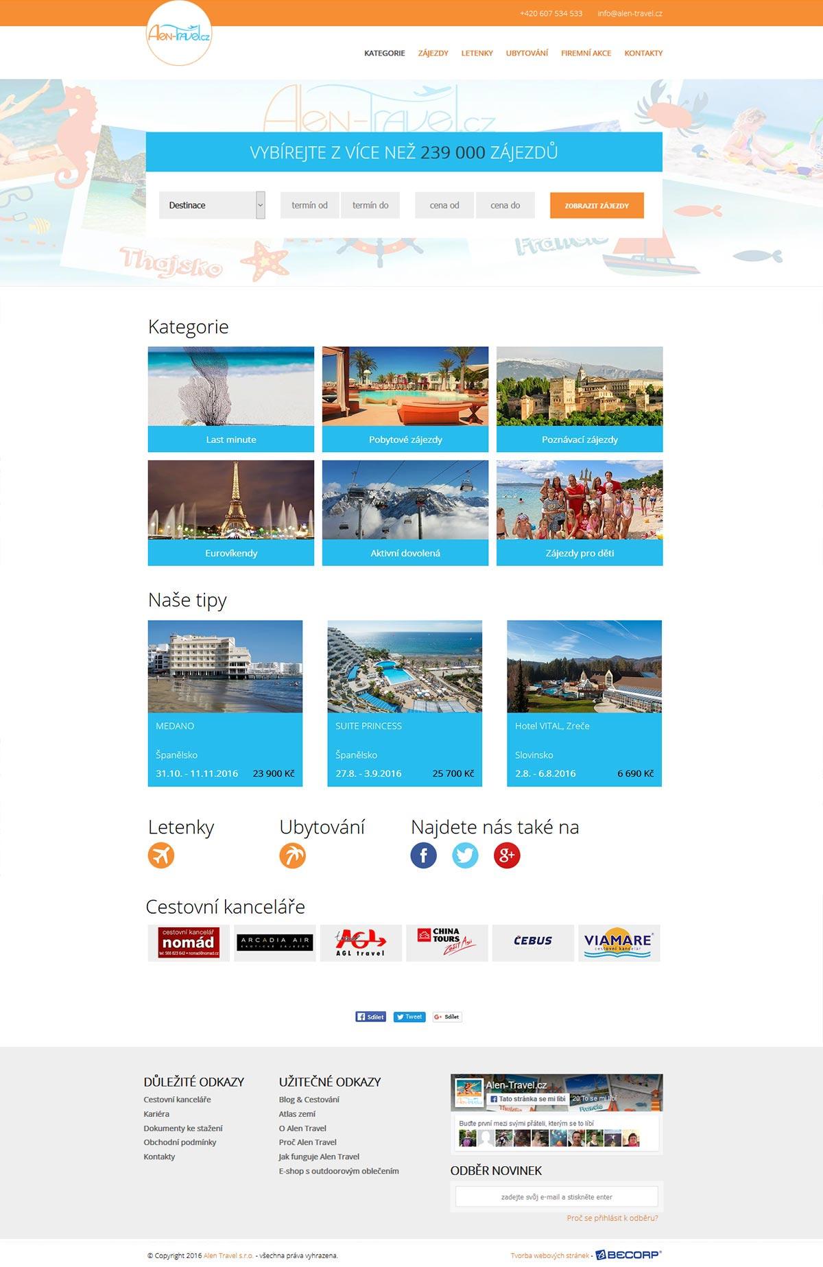 Rozsáhlý portál cestovní agentury