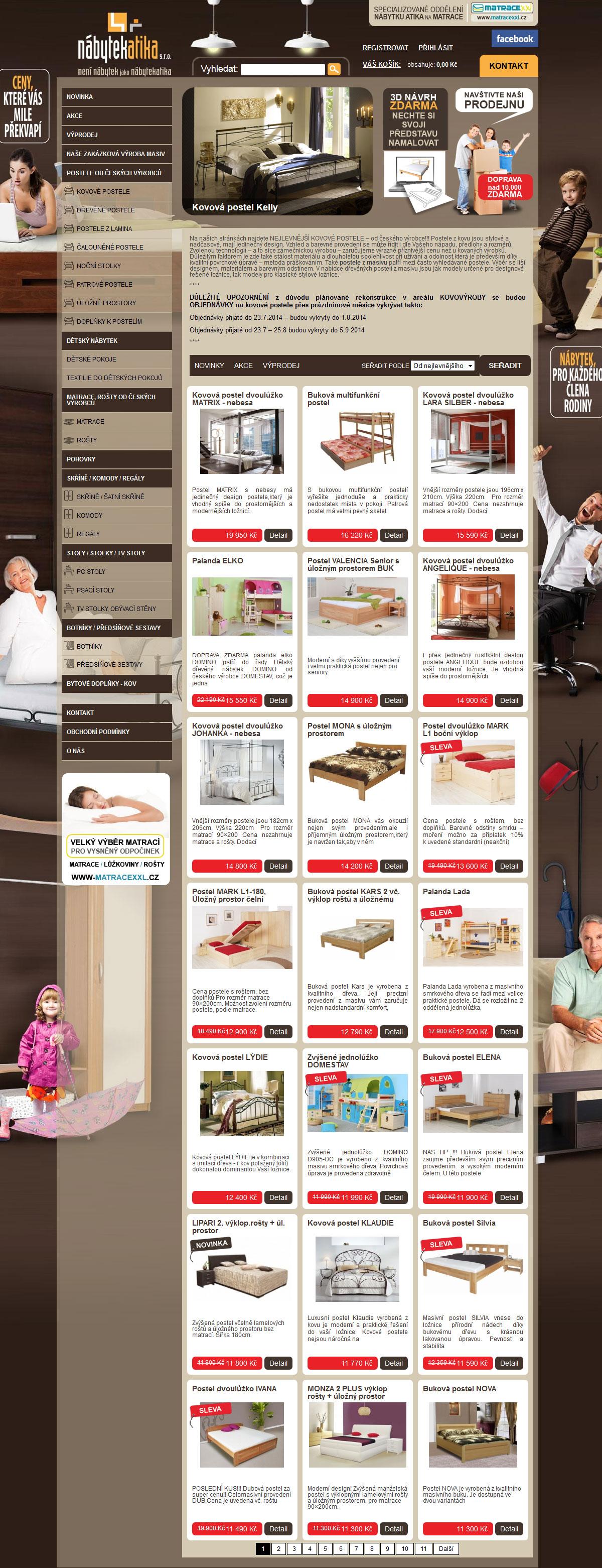 Propracovaný e-shop s nábytkem