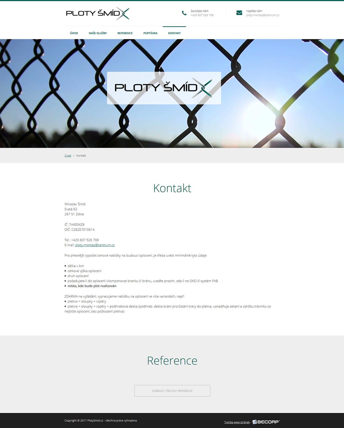 Výroba webové stránky pro OSVČ nabízející výstavbu plotů