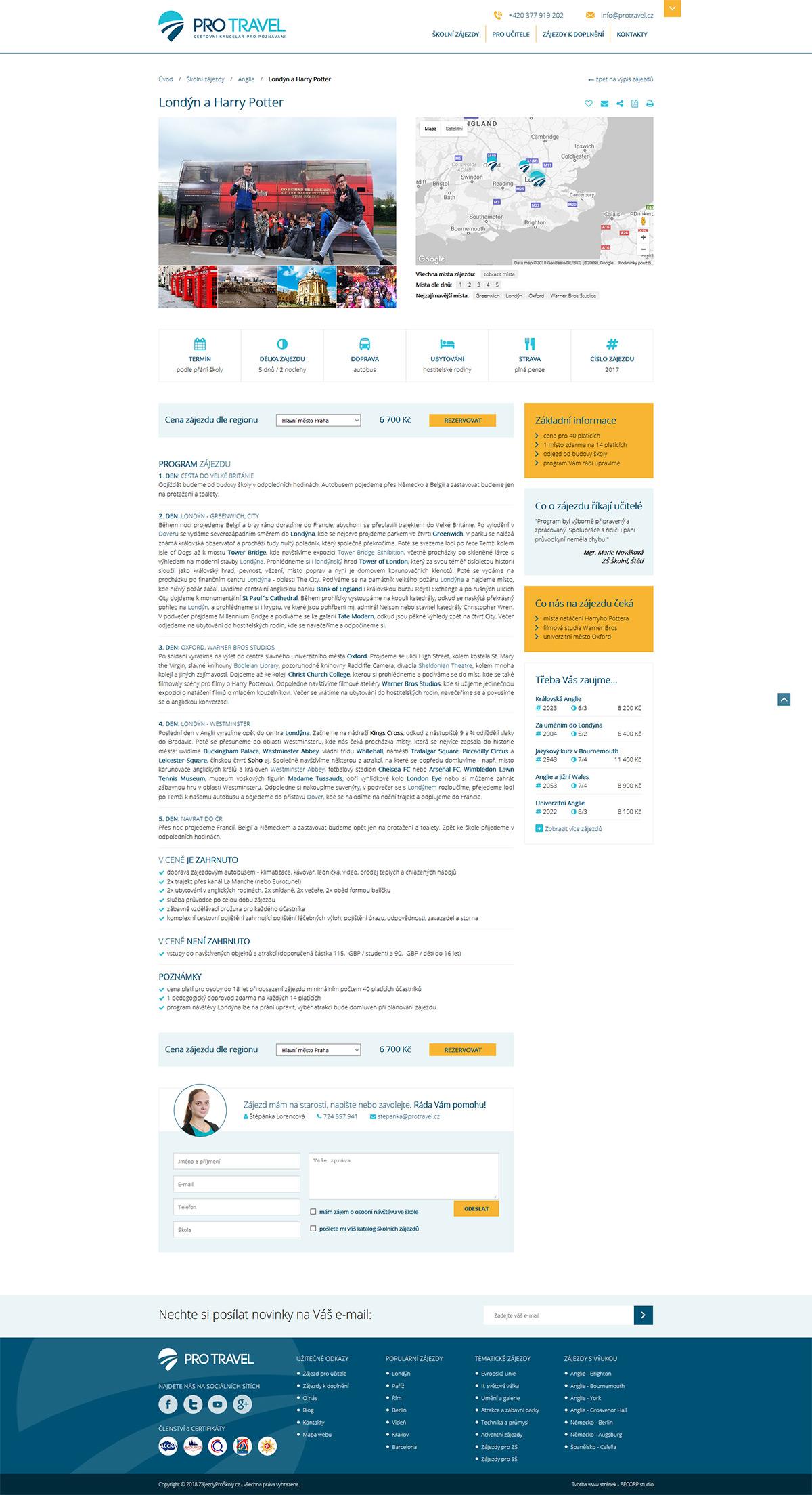 Propracovaná internetová stránka se zájezdy pro školy