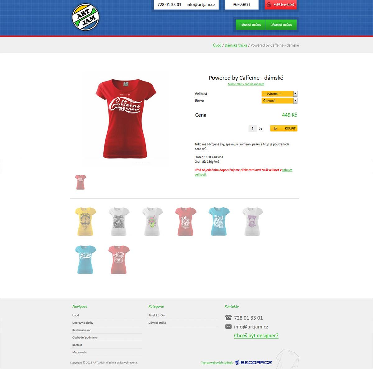 Moderní e-shop s tričky a mikinami