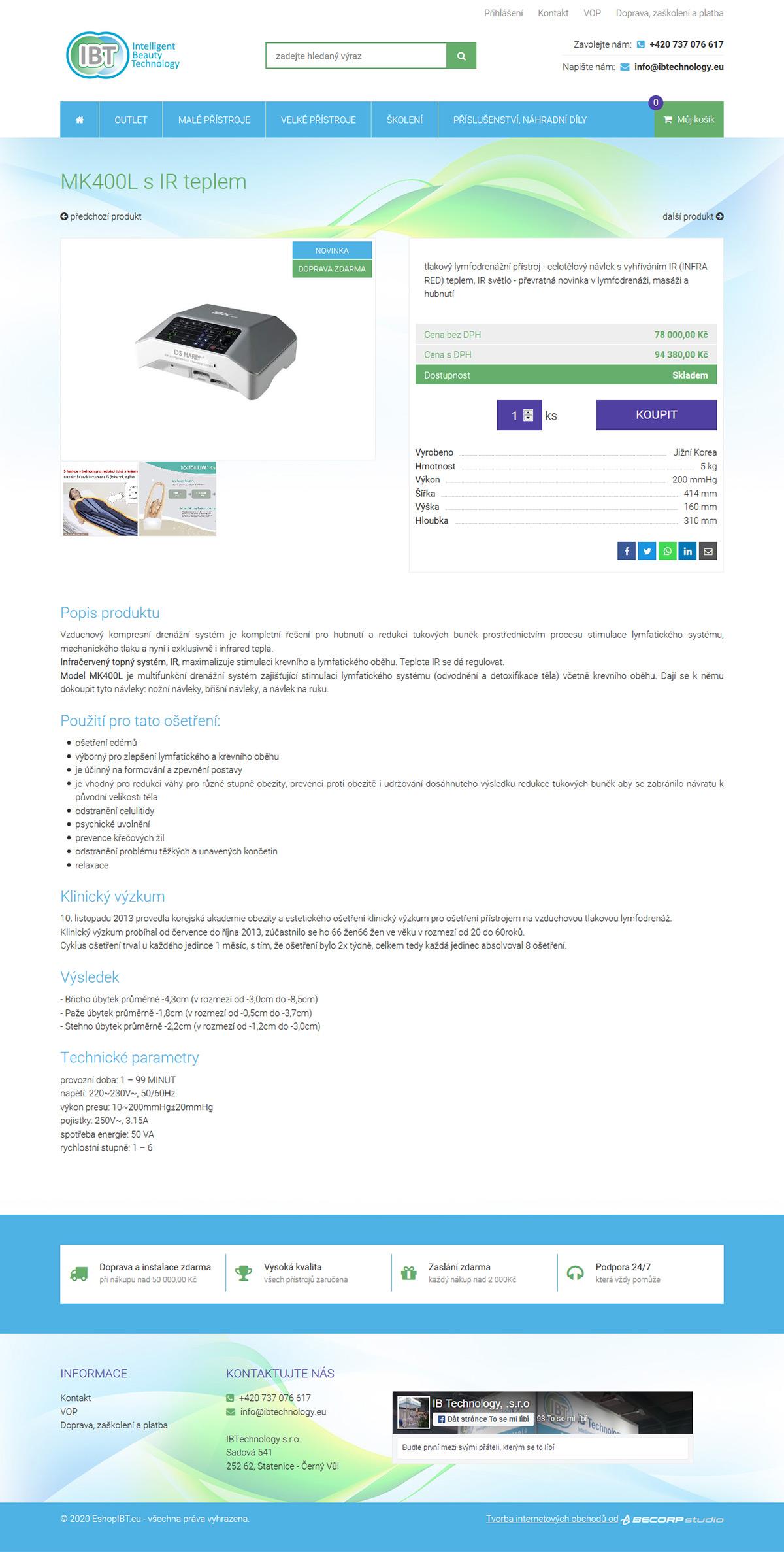 Moderní e-shop se speciálními přístroji pro kosmetická, beauty či fitness studia