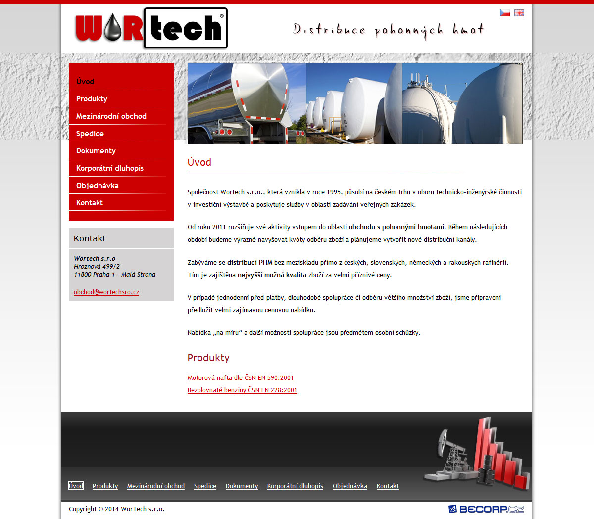 Webová stránka společnosti s pohonnými hmotami