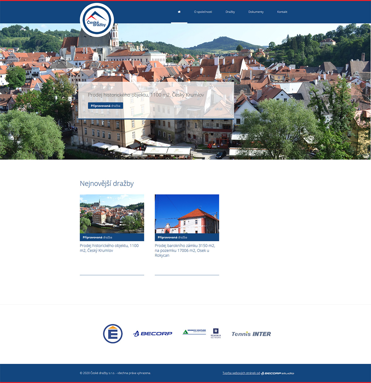 Tvorba webu pro realitní kancelář s nabídkou dražeb nemovitostí