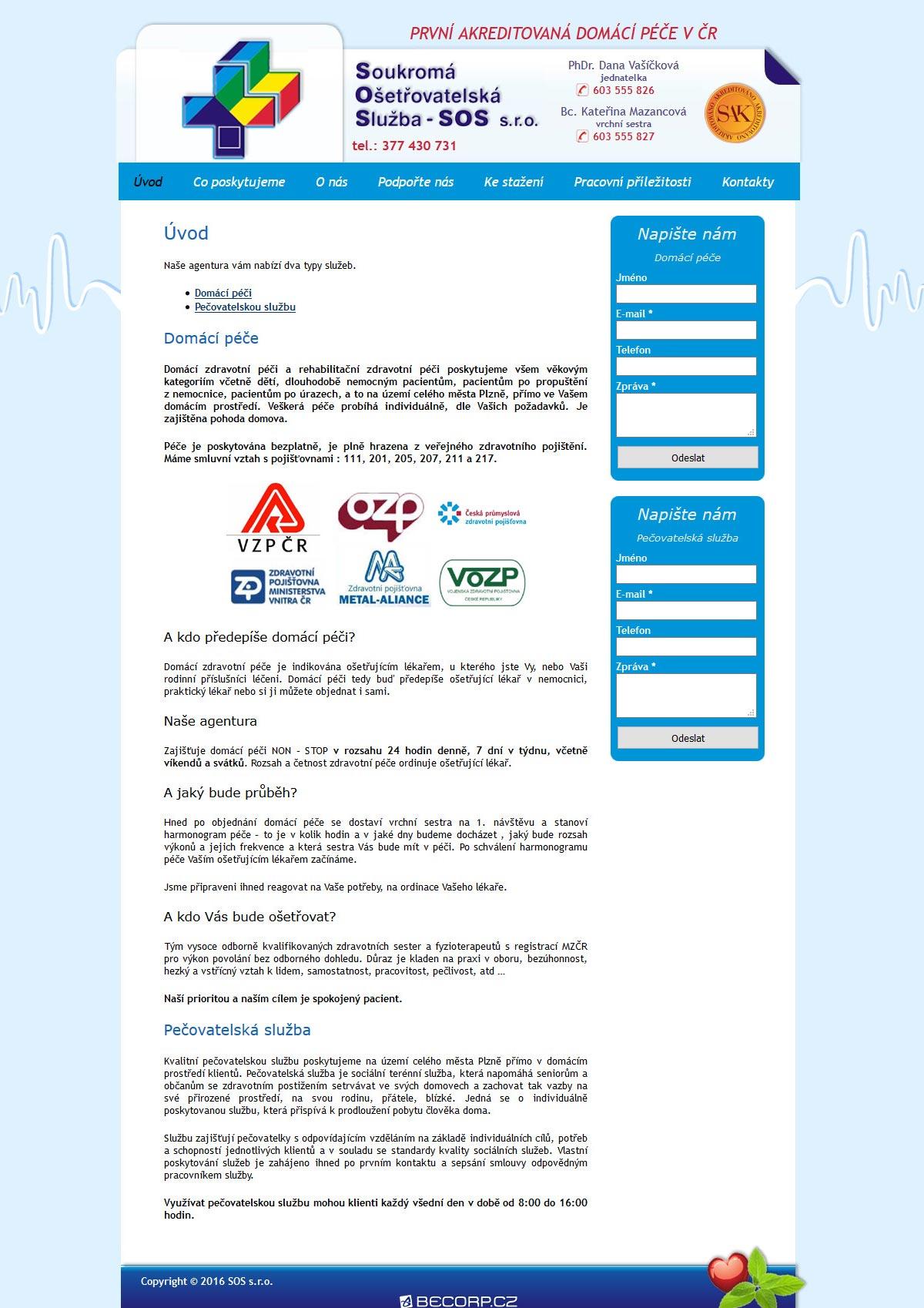 Informativní web ošetřovatelské agentury