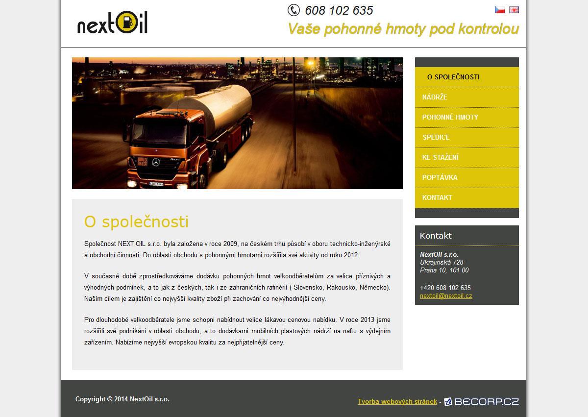 Internetová stránka společnosti s pohonnými hmotami