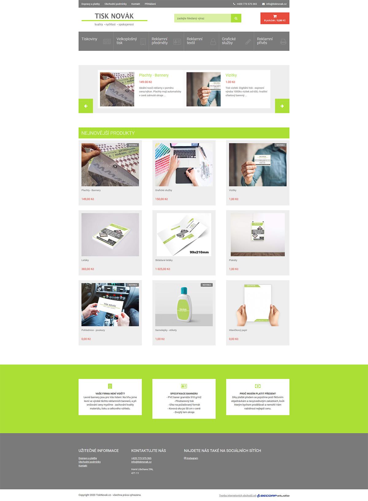Tvorba e-shopu se zakázkovou výrobou reklamních předmětů