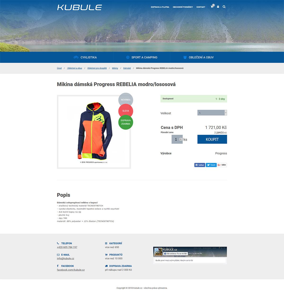 Vývoj internetového obchodu s outdoorovým vybavením
