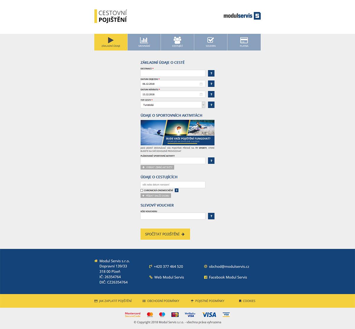 Moderní responzivní webový kalkulátor cestovního pojištění