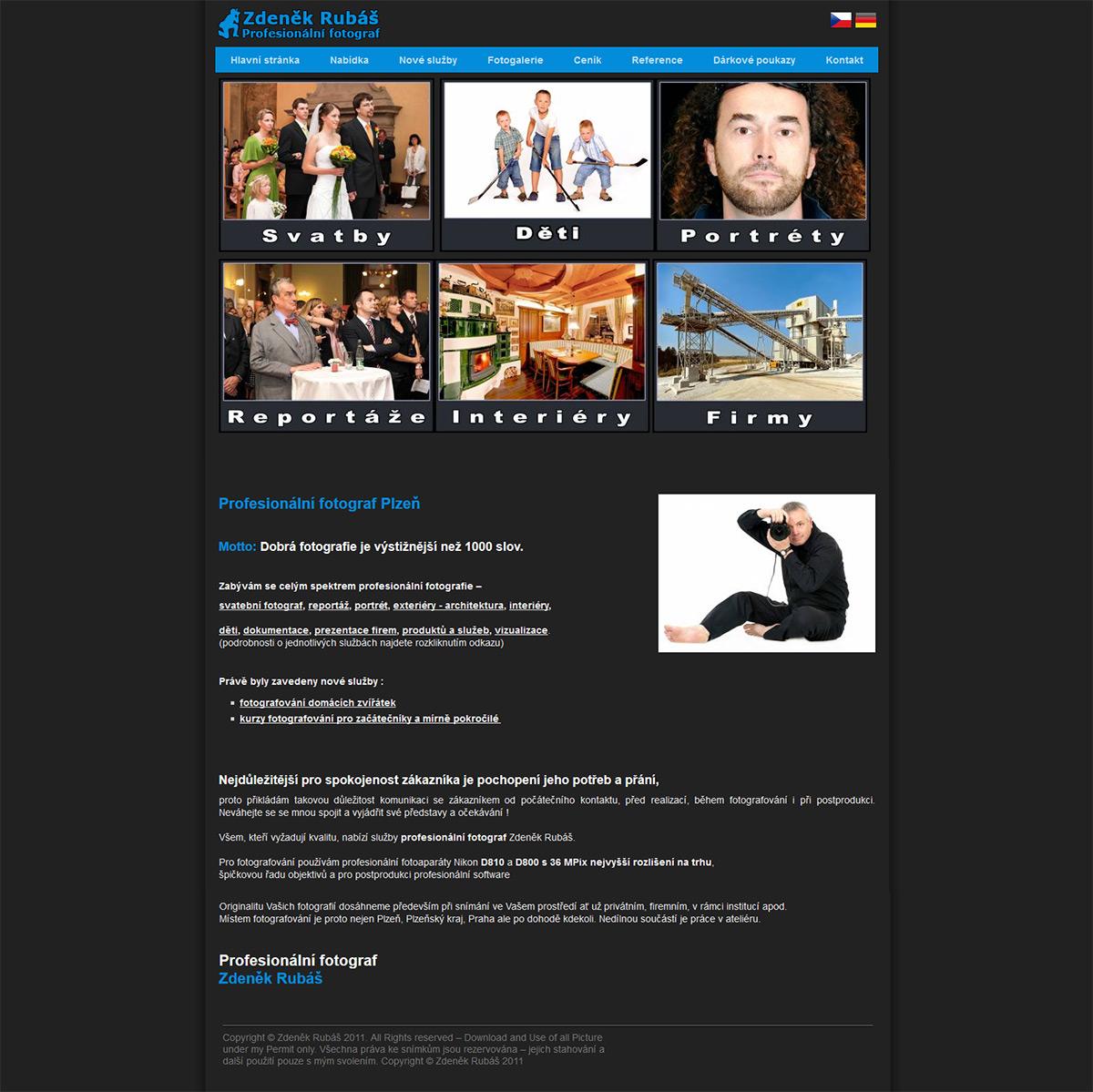Internetová stránka profesionálního fotografa