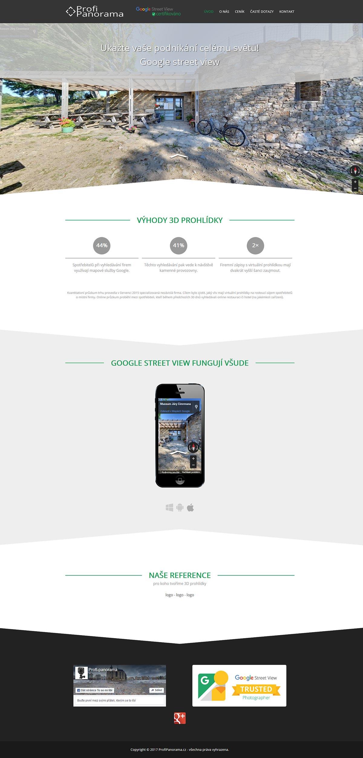 Tvorba webu pro OSVČ nabízející 360° interaktivní fotografie