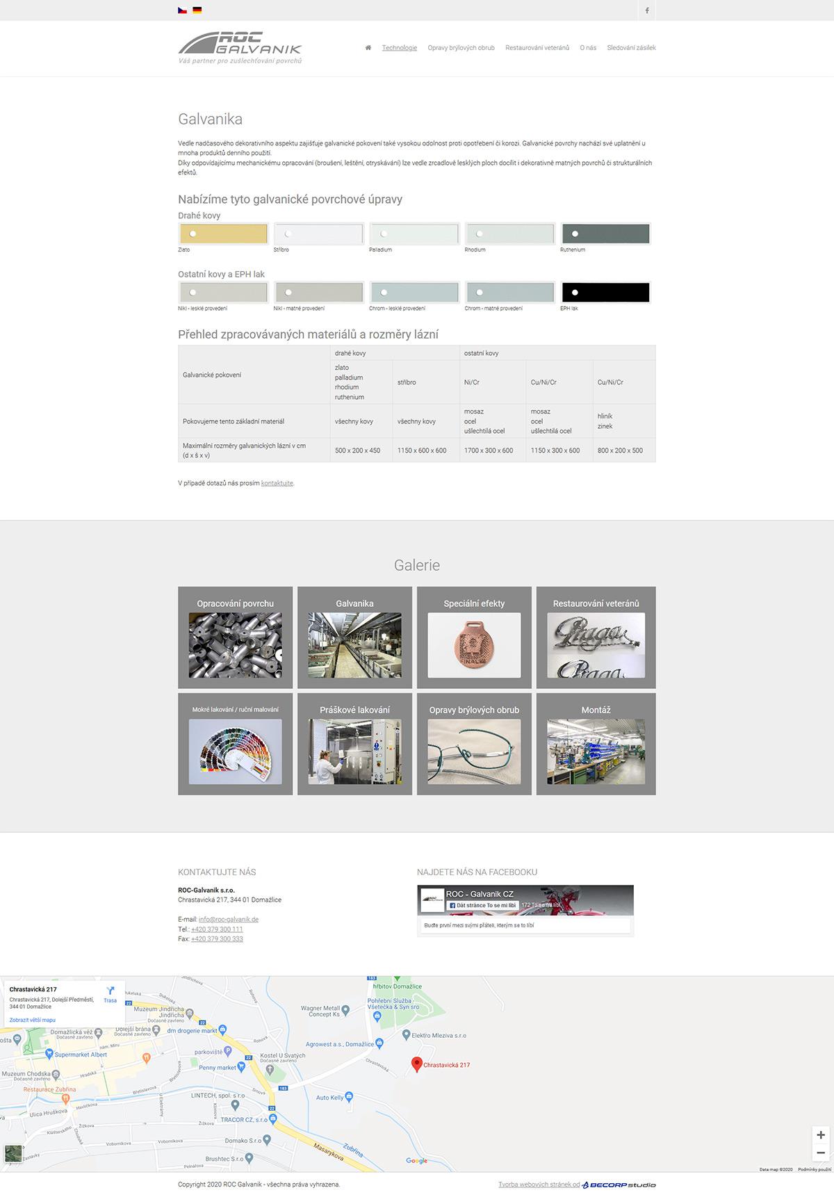Redesign www stránky s napojením na externí podnikový systém