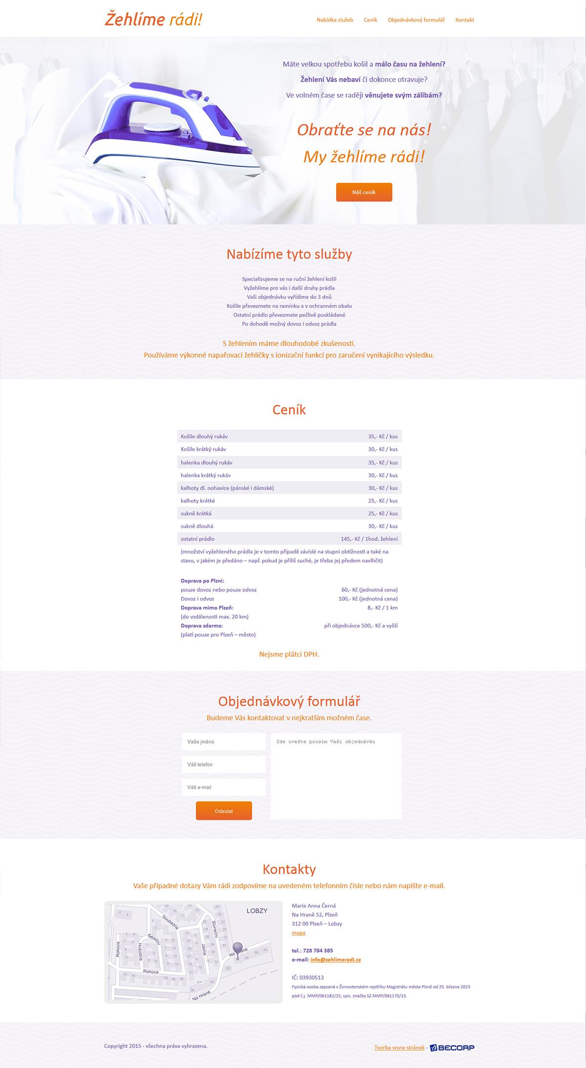Jednoduchý web OSVČ nabízející žehlení prádla
