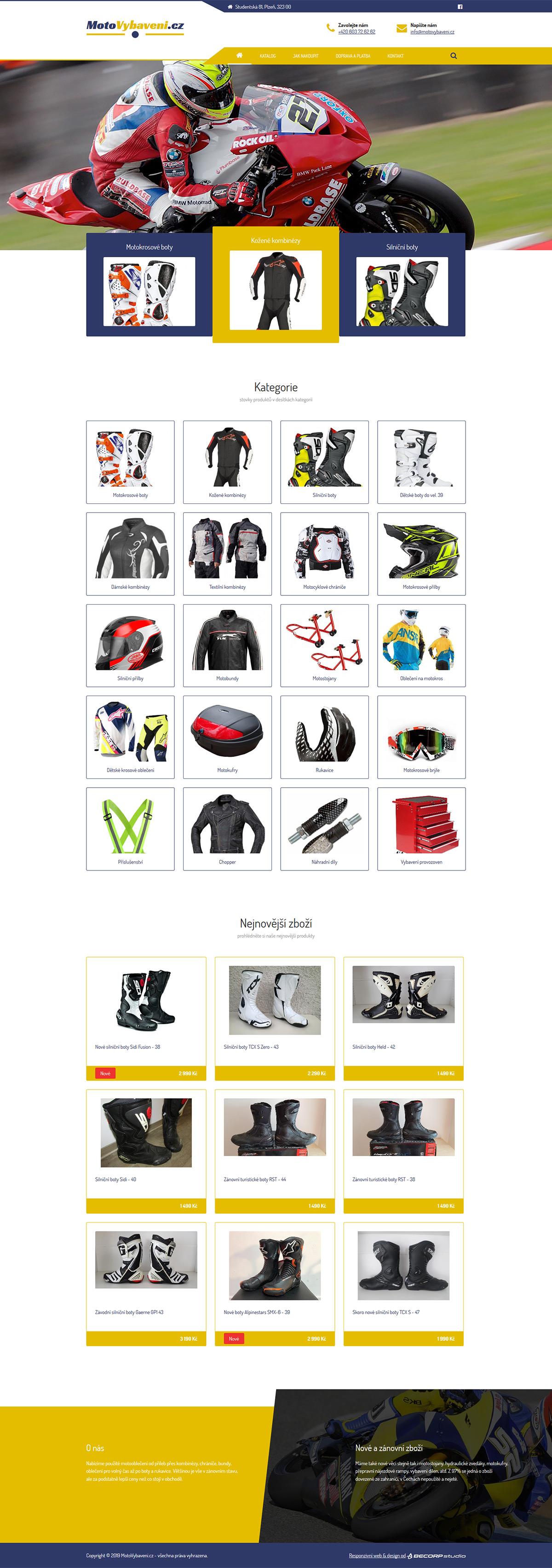 Tvorba responzivní www stránky s moto vybavením